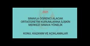 2021 Yılı Merkezi Sınava Yönelik Konu, Kazanım ve Açıklamalar